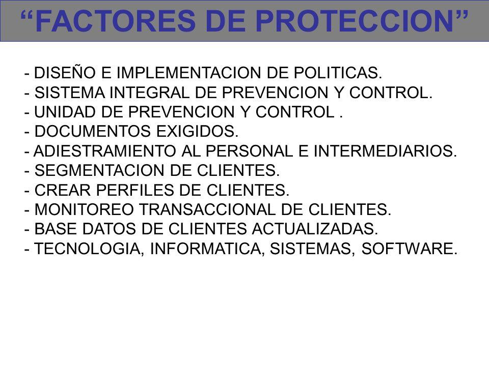 FACTORES DE PROTECCION - DISEÑO E IMPLEMENTACION DE POLITICAS. - SISTEMA INTEGRAL DE PREVENCION Y CONTROL. - UNIDAD DE PREVENCION Y CONTROL. - DOCUMEN