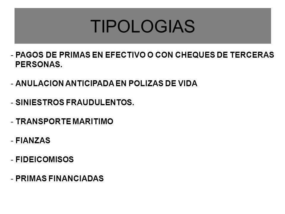 TIPOLOGIAS - PAGOS DE PRIMAS EN EFECTIVO O CON CHEQUES DE TERCERAS PERSONAS. - ANULACION ANTICIPADA EN POLIZAS DE VIDA - SINIESTROS FRAUDULENTOS. - TR