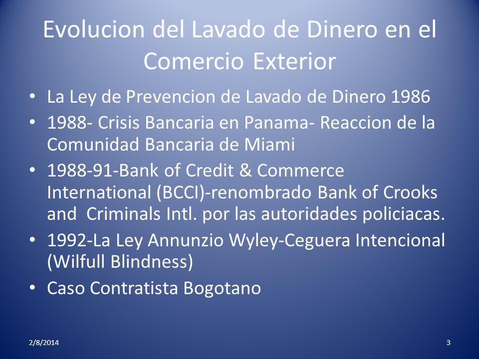Evolucion del Lavado de Dinero en el Comercio Exterior La Ley de Prevencion de Lavado de Dinero 1986 1988- Crisis Bancaria en Panama- Reaccion de la C