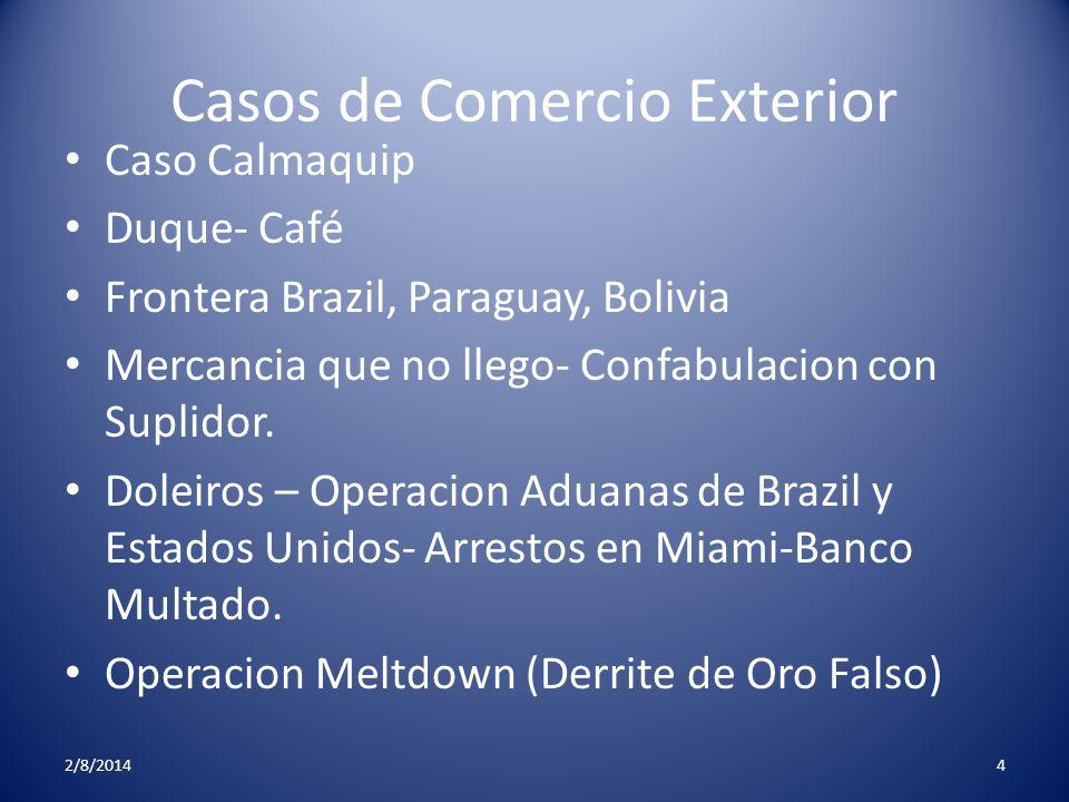 Casos de Comercio Exterior Caso Calmaquip Duque- Café Frontera Brazil, Paraguay, Bolivia Mercancia que no llego- Confabulacion con Suplidor. Doleiros