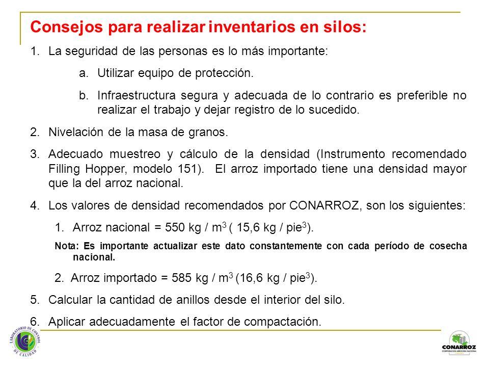 Consejos para realizar inventarios en silos: 1.La seguridad de las personas es lo más importante: a.Utilizar equipo de protección. b.Infraestructura s