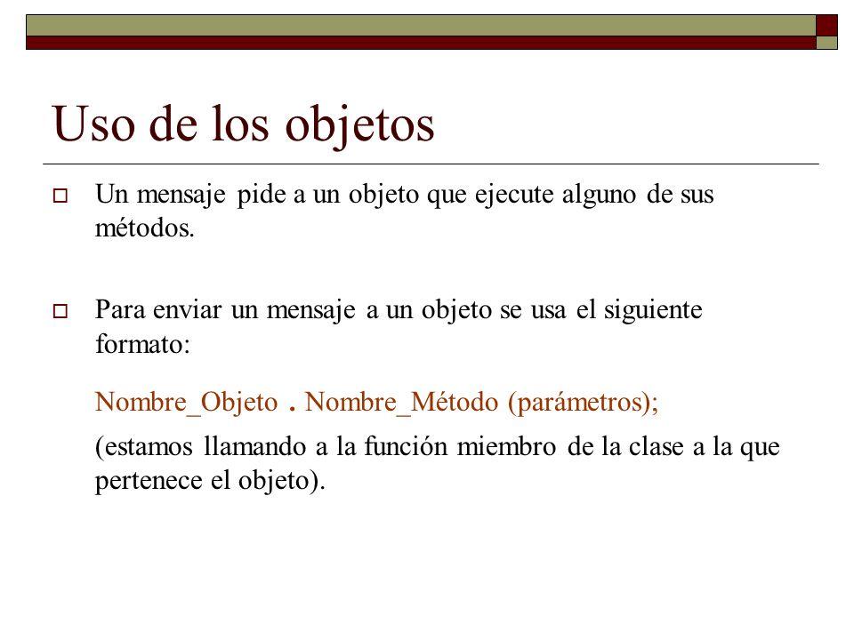 Uso de los objetos Un mensaje pide a un objeto que ejecute alguno de sus métodos.