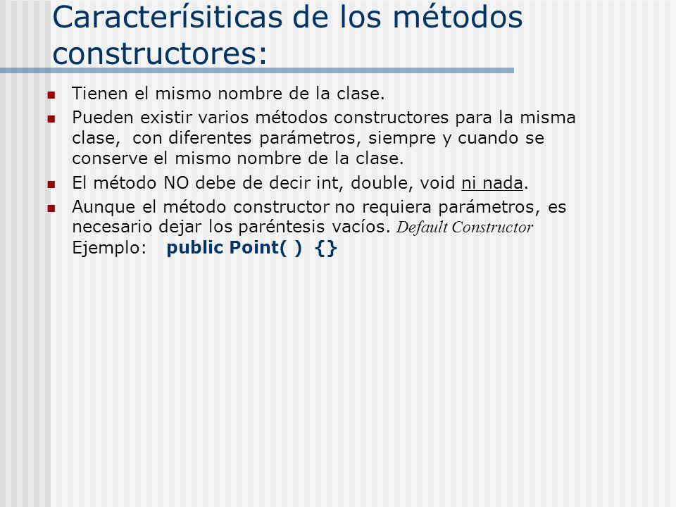 Caracterísiticas de los métodos constructores: Tienen el mismo nombre de la clase. Pueden existir varios métodos constructores para la misma clase, co