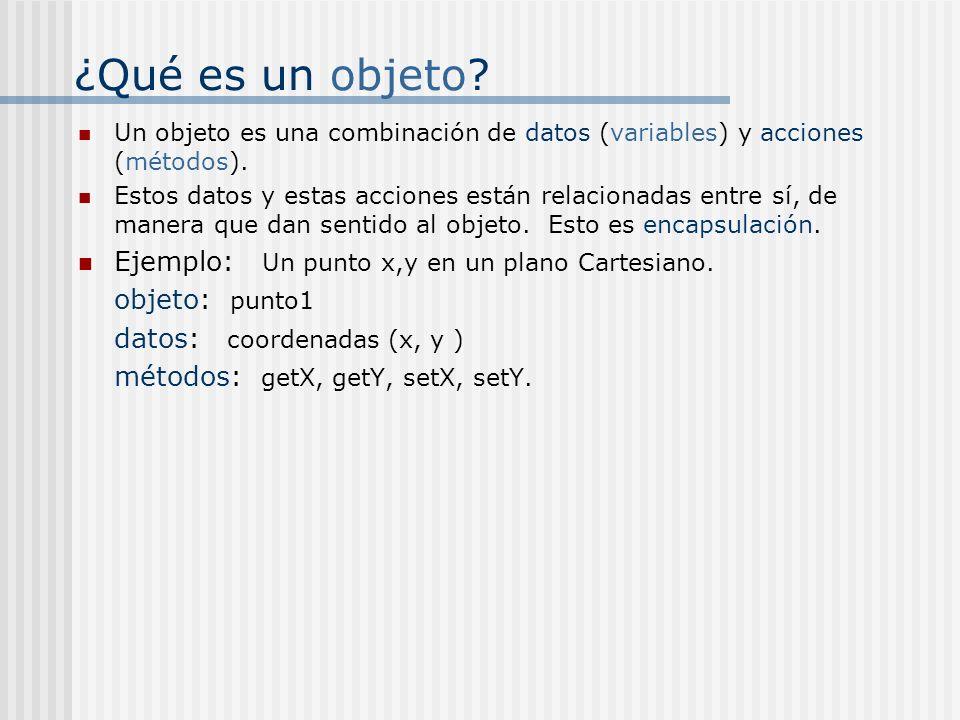 ¿Qué es un objeto? Un objeto es una combinación de datos (variables) y acciones (métodos). Estos datos y estas acciones están relacionadas entre sí, d