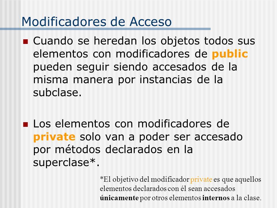Modificadores de Acceso Cuando se heredan los objetos todos sus elementos con modificadores de public pueden seguir siendo accesados de la misma maner