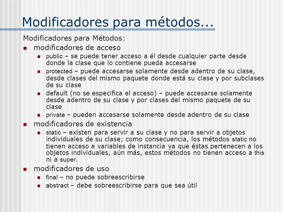 Modificadores para métodos... Modificadores para Métodos: modificadores de acceso public – se puede tener acceso a él desde cualquier parte desde dond