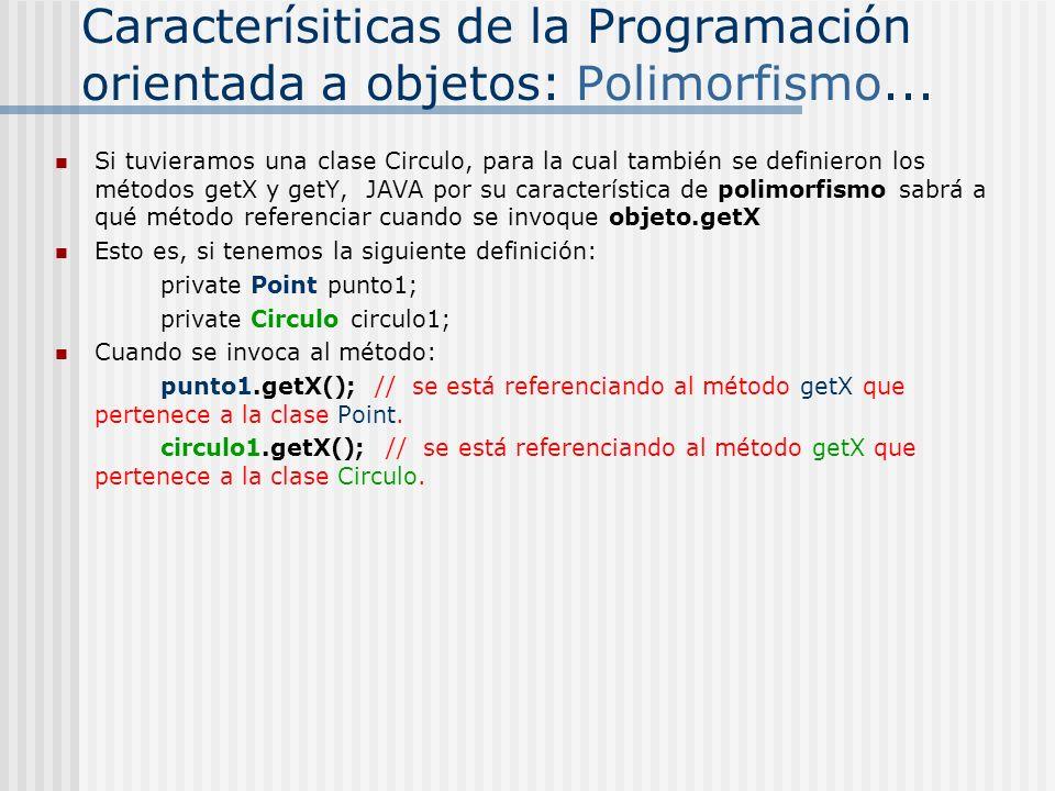 Caracterísiticas de la Programación orientada a objetos: Polimorfismo... Si tuvieramos una clase Circulo, para la cual también se definieron los métod