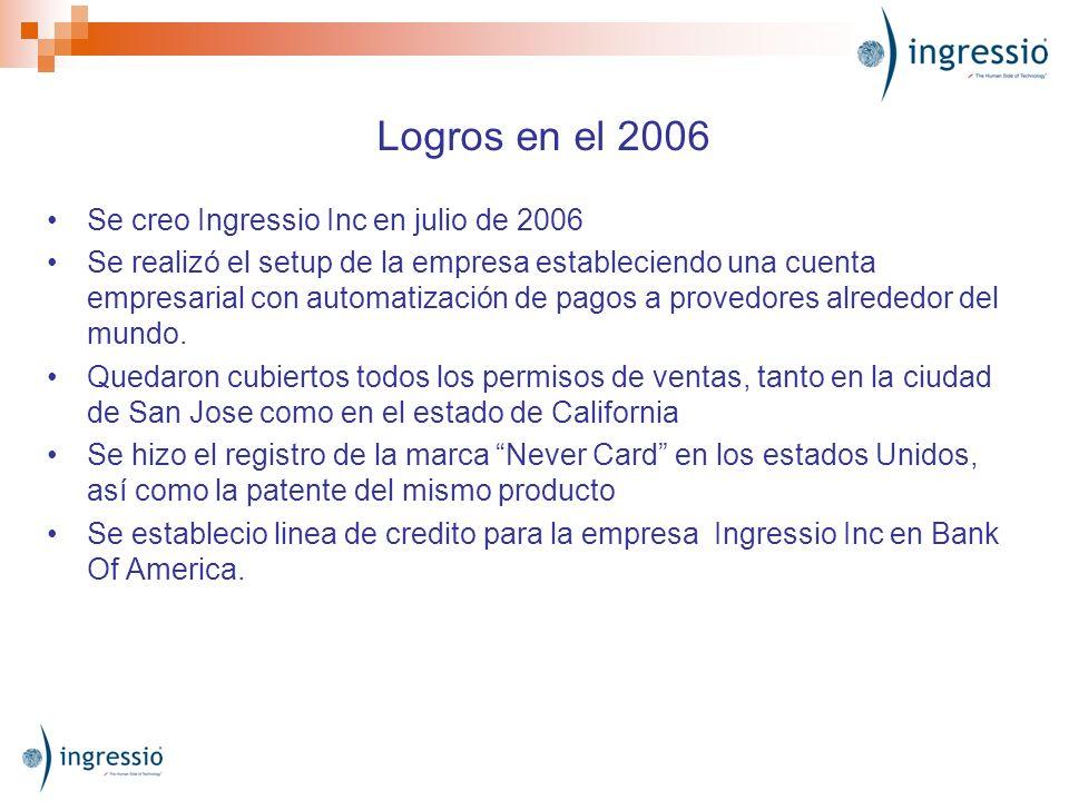 Logros en el 2006 Se creo Ingressio Inc en julio de 2006 Se realizó el setup de la empresa estableciendo una cuenta empresarial con automatización de pagos a provedores alrededor del mundo.