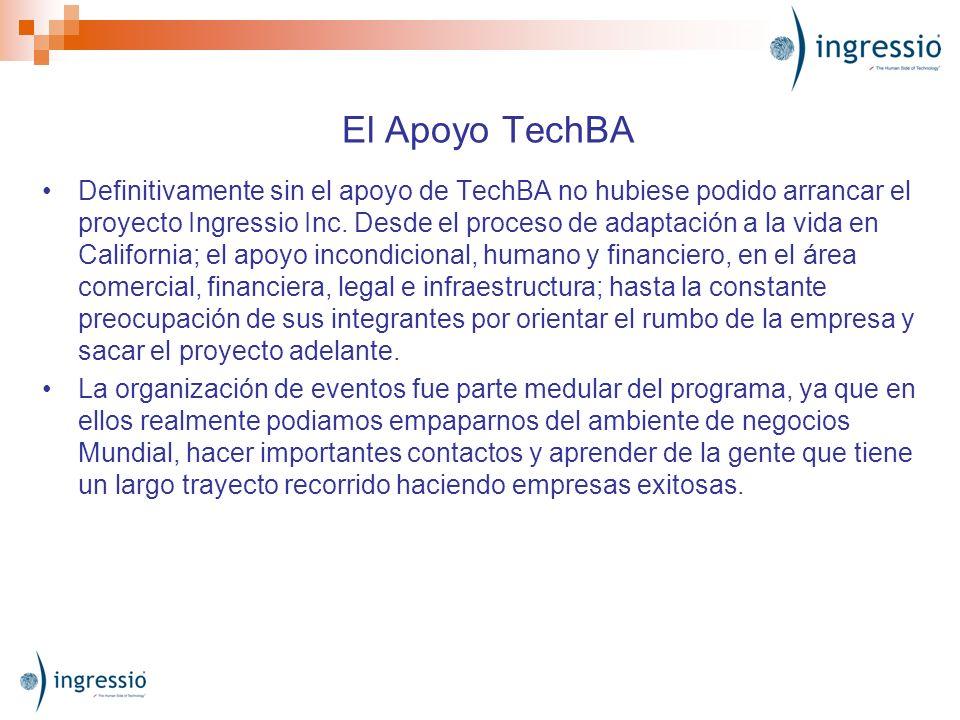 El Apoyo TechBA Definitivamente sin el apoyo de TechBA no hubiese podido arrancar el proyecto Ingressio Inc. Desde el proceso de adaptación a la vida