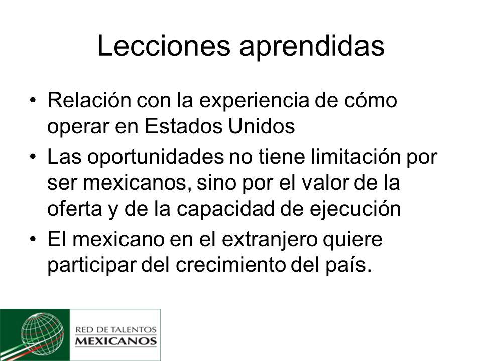 Lecciones aprendidas Relación con la experiencia de cómo operar en Estados Unidos Las oportunidades no tiene limitación por ser mexicanos, sino por el valor de la oferta y de la capacidad de ejecución El mexicano en el extranjero quiere participar del crecimiento del país.