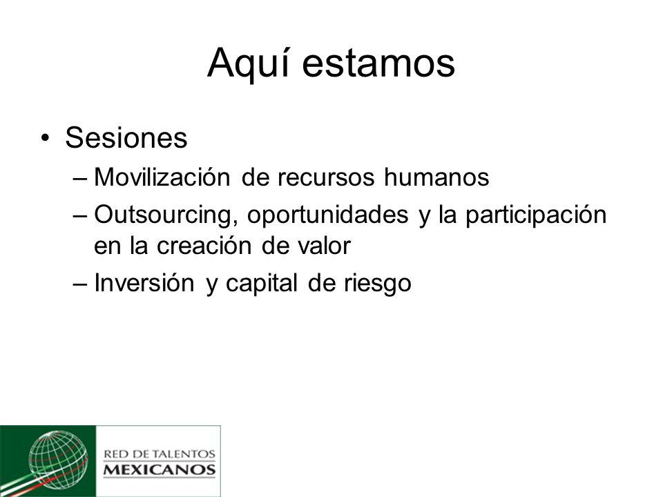 Aquí estamos Sesiones –Movilización de recursos humanos –Outsourcing, oportunidades y la participación en la creación de valor –Inversión y capital de riesgo