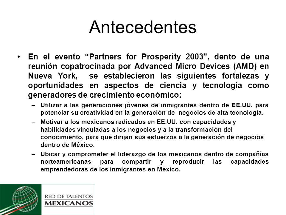 Antecedentes En el evento Partners for Prosperity 2003, dento de una reunión copatrocinada por Advanced Micro Devices (AMD) en Nueva York, se establecieron las siguientes fortalezas y oportunidades en aspectos de ciencia y tecnología como generadores de crecimiento económico: –Utilizar a las generaciones jóvenes de inmigrantes dentro de EE.UU.