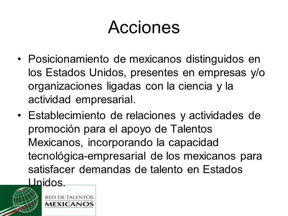 Acciones Posicionamiento de mexicanos distinguidos en los Estados Unidos, presentes en empresas y/o organizaciones ligadas con la ciencia y la actividad empresarial.