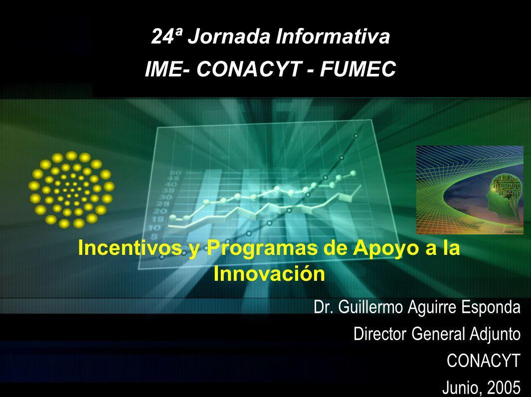 Dr. Guillermo Aguirre Esponda Director General Adjunto CONACYT Junio, 2005 24ª Jornada Informativa IME- CONACYT - FUMEC Incentivos y Programas de Apoy