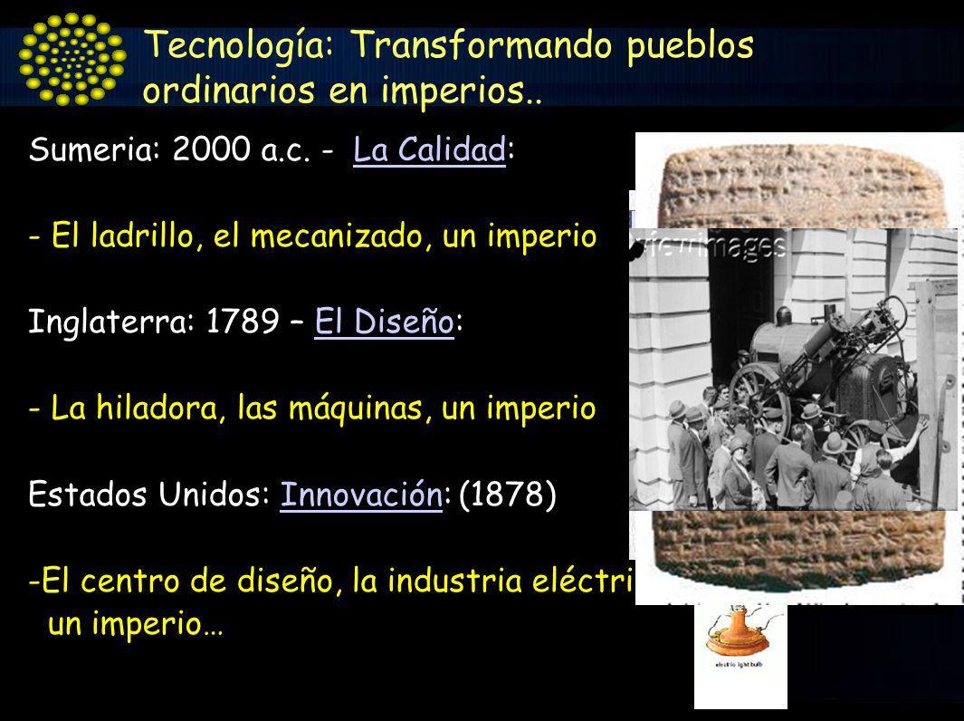 Sumeria: 2000 a.c. - La Calidad:La Calidad - El ladrillo, el mecanizado, un imperio Inglaterra: 1789 – El Diseño:El Diseño - La hiladora, las máquinas