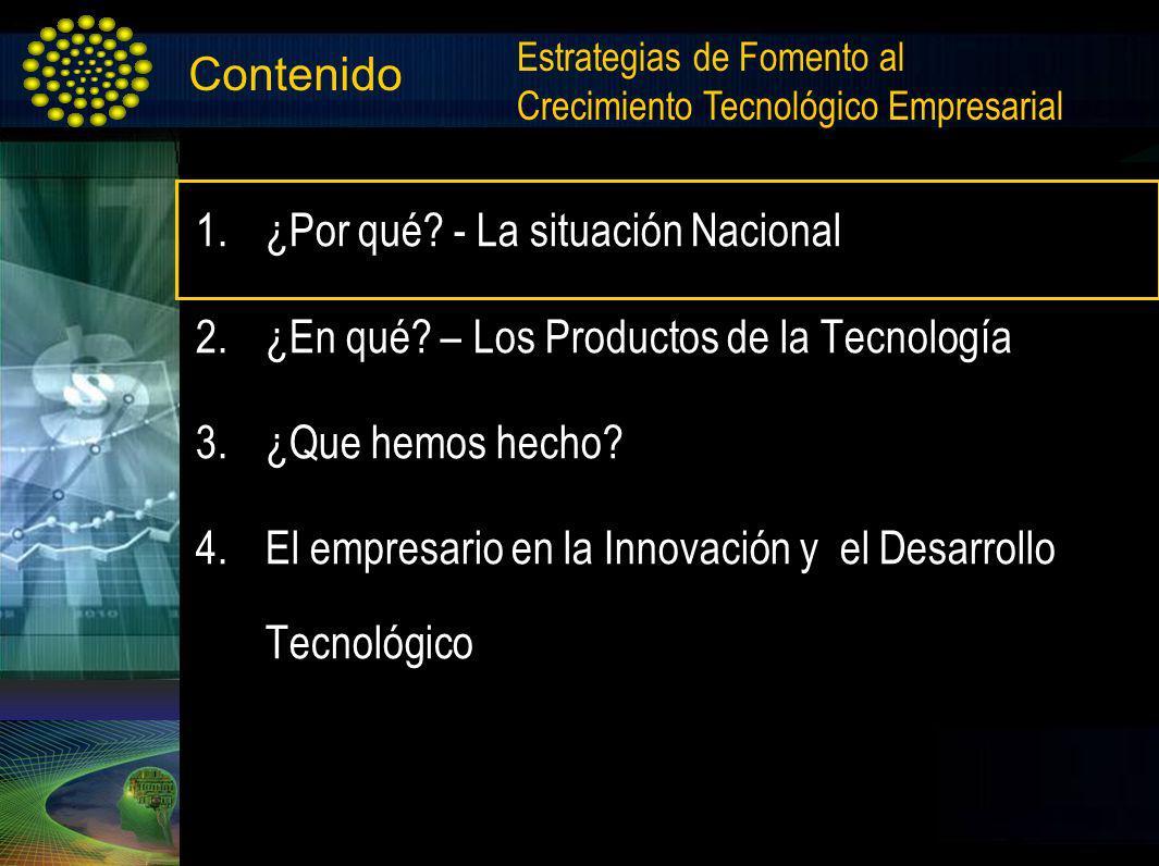 Contenido 1.¿Por qué? - La situación Nacional 2.¿En qué? – Los Productos de la Tecnología 3.¿Que hemos hecho? 4.El empresario en la Innovación y el De