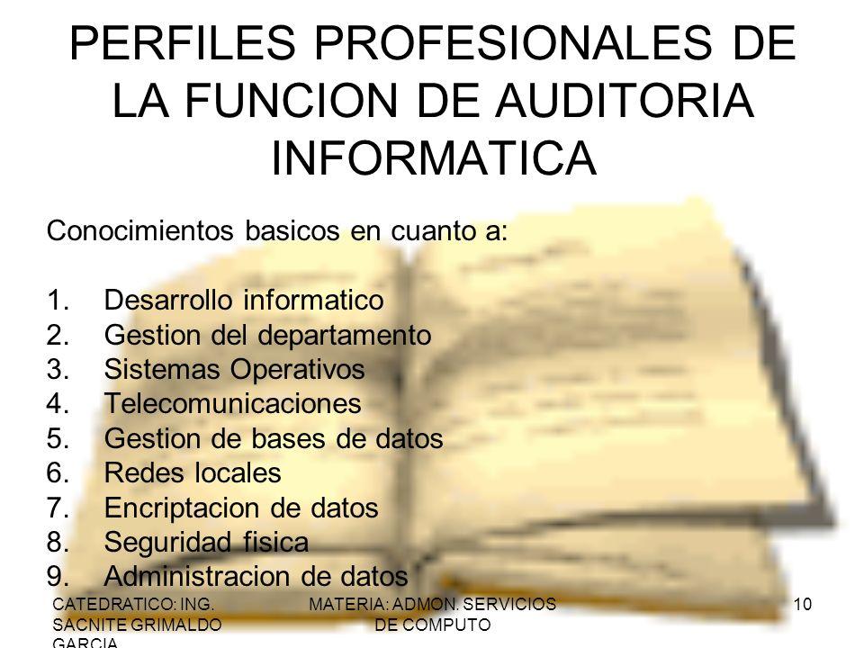 CATEDRATICO: ING. SACNITE GRIMALDO GARCIA MATERIA: ADMON. SERVICIOS DE COMPUTO 10 PERFILES PROFESIONALES DE LA FUNCION DE AUDITORIA INFORMATICA Conoci