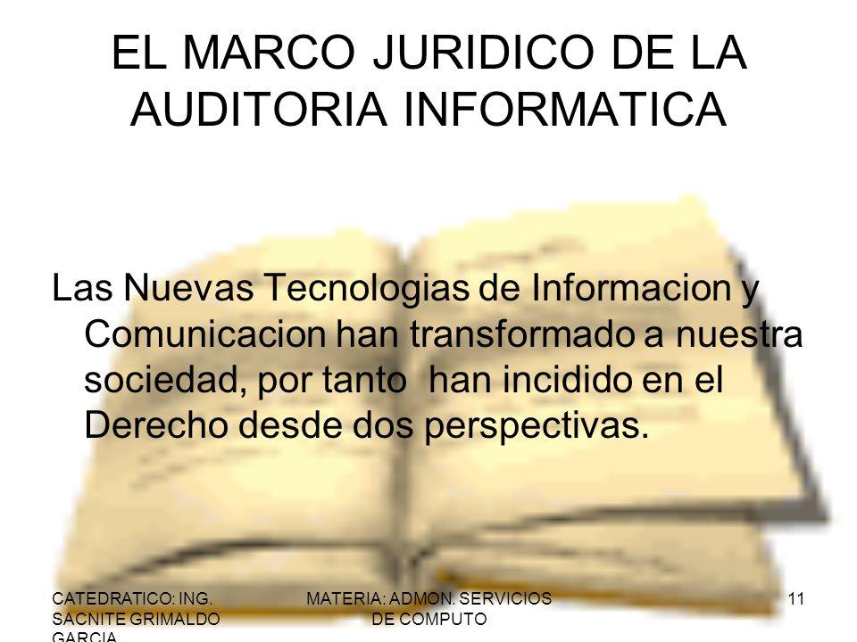 CATEDRATICO: ING. SACNITE GRIMALDO GARCIA MATERIA: ADMON. SERVICIOS DE COMPUTO 11 EL MARCO JURIDICO DE LA AUDITORIA INFORMATICA Las Nuevas Tecnologias