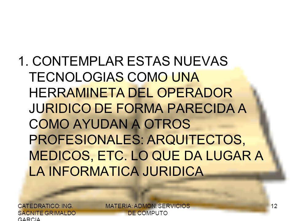 CATEDRATICO: ING. SACNITE GRIMALDO GARCIA MATERIA: ADMON. SERVICIOS DE COMPUTO 12 1. CONTEMPLAR ESTAS NUEVAS TECNOLOGIAS COMO UNA HERRAMINETA DEL OPER