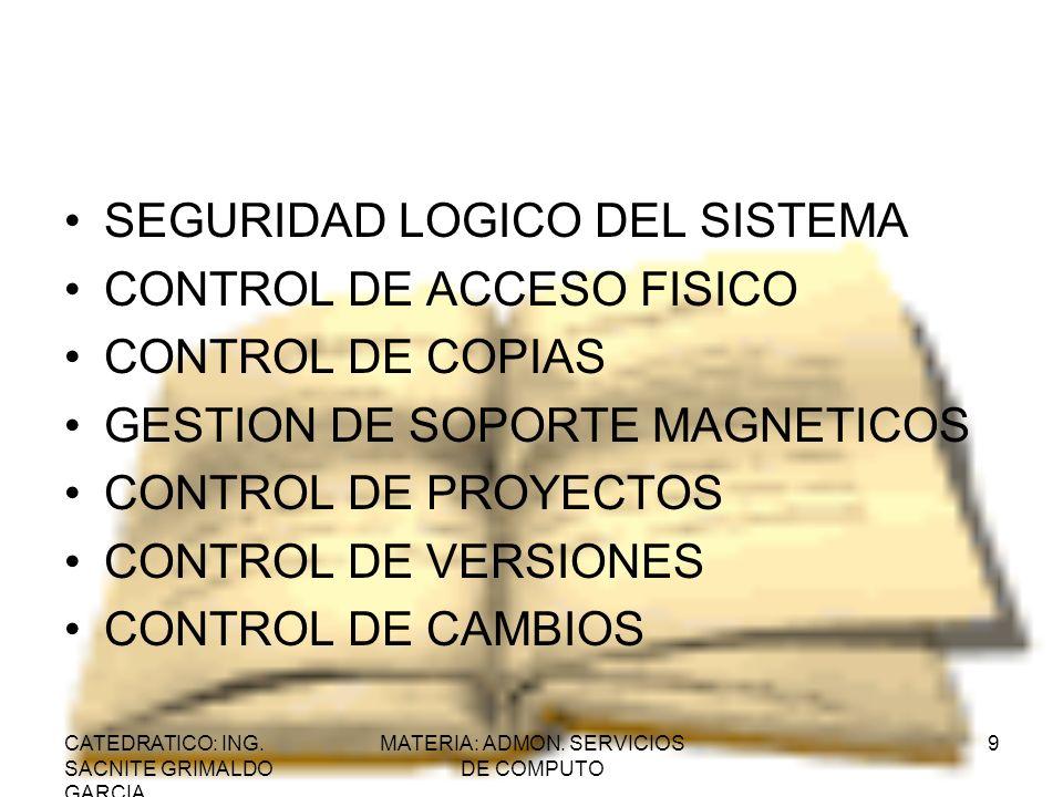 CATEDRATICO: ING. SACNITE GRIMALDO GARCIA MATERIA: ADMON. SERVICIOS DE COMPUTO 9 SEGURIDAD LOGICO DEL SISTEMA CONTROL DE ACCESO FISICO CONTROL DE COPI