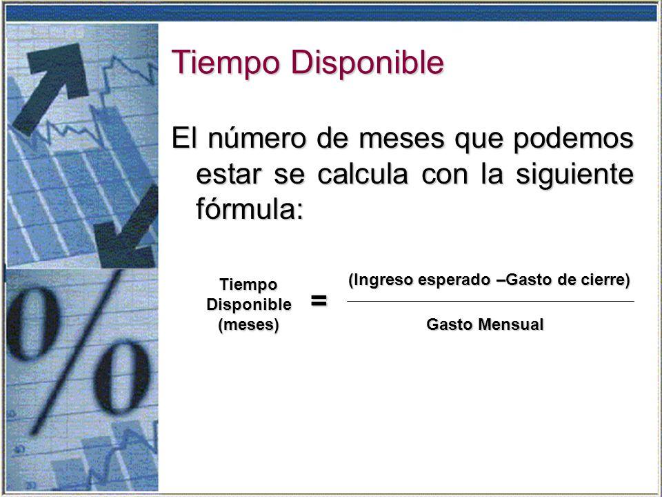 Tiempo Disponible El número de meses que podemos estar se calcula con la siguiente fórmula: TiempoDisponible(meses) = (Ingreso esperado –Gasto de cierre) Gasto Mensual