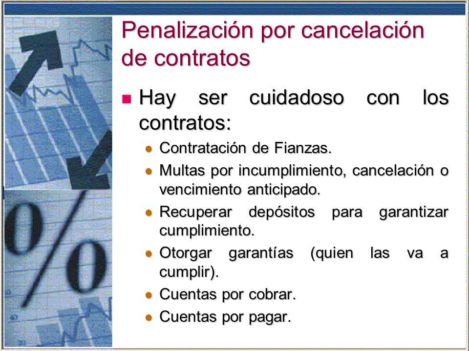 Penalización por cancelación de contratos Hay ser cuidadoso con los contratos: Hay ser cuidadoso con los contratos: Contratación de Fianzas.