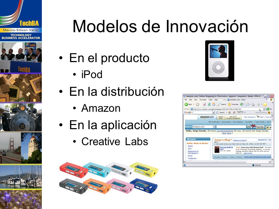 Modelos de Innovación En el producto iPod En la distribución Amazon En la aplicación Creative Labs