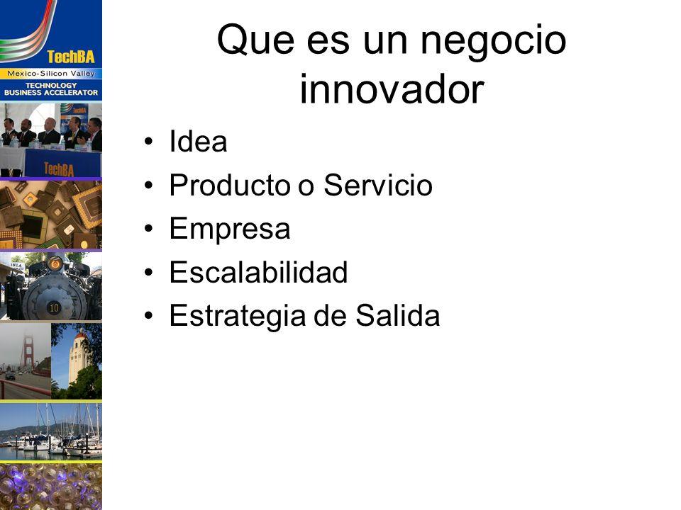 Cual es el negocio de la innovación Crear el producto Transformarlo en Negocio Nutrir la empresa Vender el negocio Transferencia de Tecnología Inversión Adquisición IPO – colocación pública