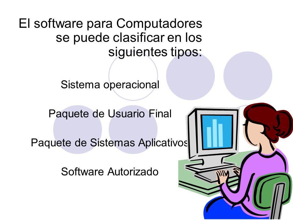 El software para Computadores se puede clasificar en los siguientes tipos: Sistema operacional Paquete de Usuario Final Paquete de Sistemas Aplicativo