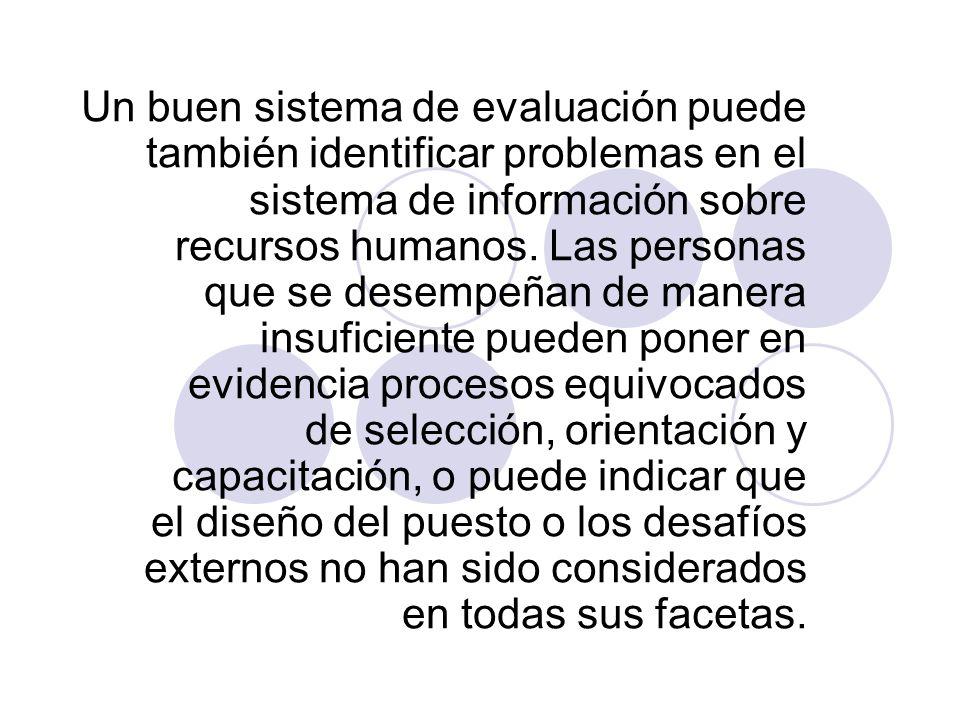 Un buen sistema de evaluación puede también identificar problemas en el sistema de información sobre recursos humanos. Las personas que se desempeñan
