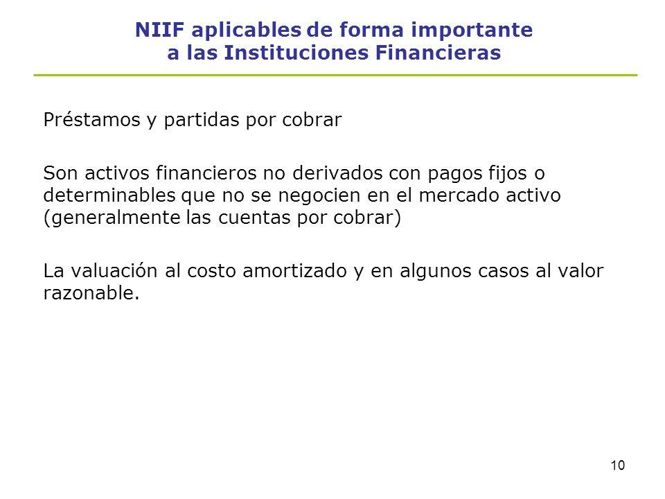 9 NIIF aplicables de forma importante a las Instituciones Financieras Inversiones mantenidas hasta el vencimiento -Son aquellas no derivadas con una f