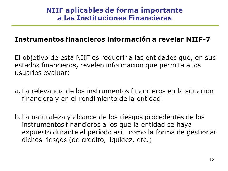 11 NIIF aplicables de forma importante a las Instituciones Financieras Disponible para la venta Activos no derivados, distinto de negociar o mantenido