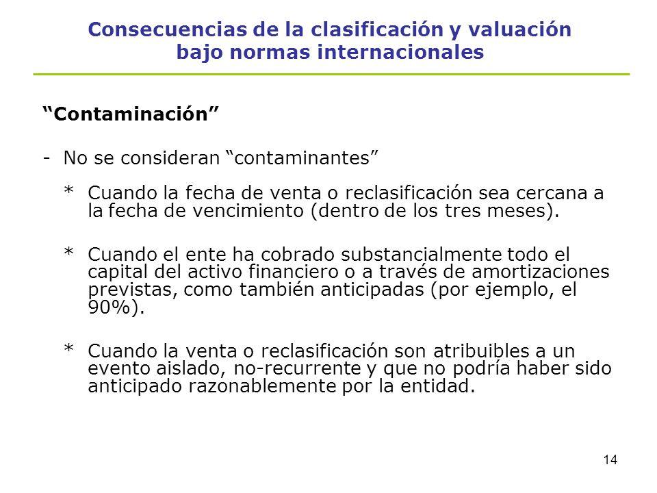 13 Consecuencias de la clasificación y valuación bajo normas internacionales Contaminación -La venta o reclasificación a otra categoría de un activo f