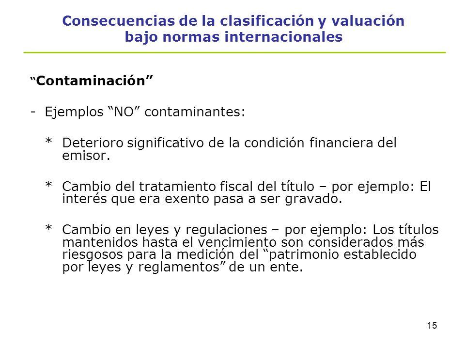 14 Consecuencias de la clasificación y valuación bajo normas internacionales Contaminación -No se consideran contaminantes *Cuando la fecha de venta o