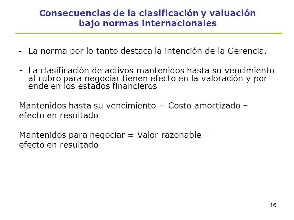 15 Consecuencias de la clasificación y valuación bajo normas internacionales Contaminación -Ejemplos NO contaminantes: *Deterioro significativo de la