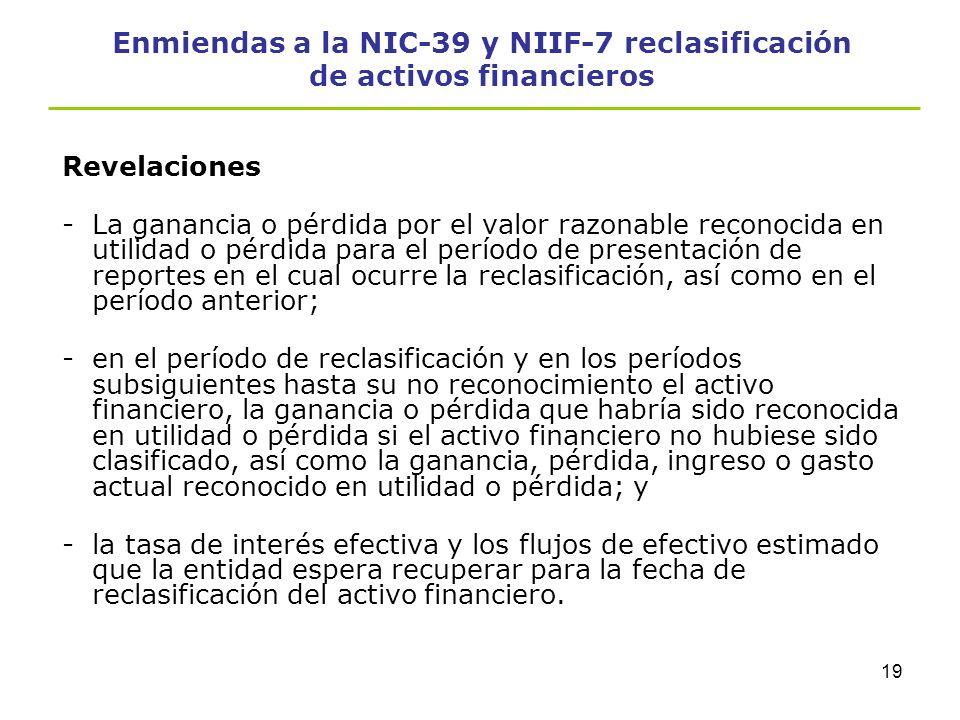 18 Enmiendas a la NIC-39 y NIIF-7 reclasificación de activos financieros Revelaciones Para hacer transparente para los usuarios cualesquiera reclasifi