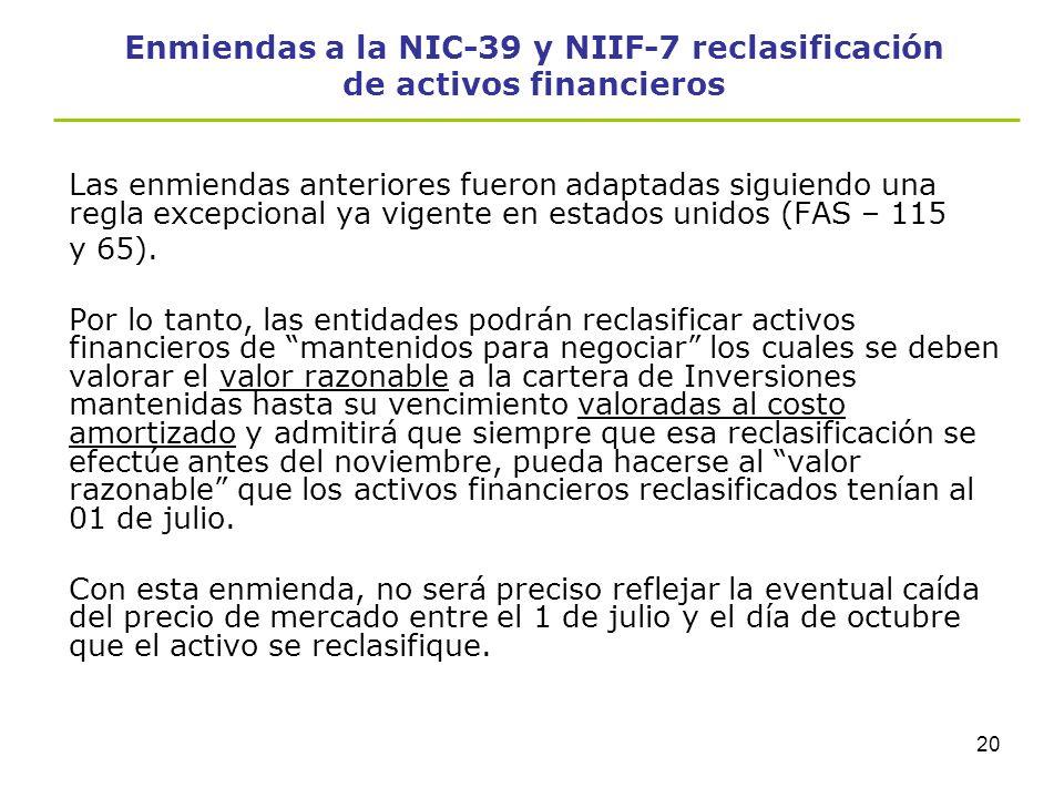 19 Enmiendas a la NIC-39 y NIIF-7 reclasificación de activos financieros Revelaciones -La ganancia o pérdida por el valor razonable reconocida en util