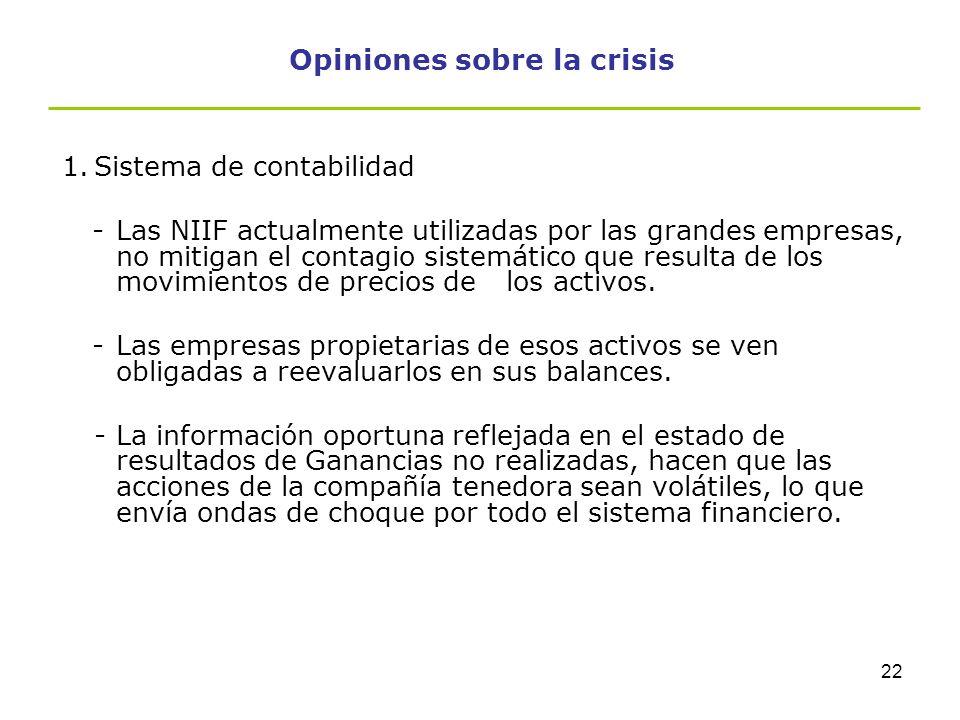 21 Opiniones sobre la crisis Opiniones sobre la crisis: -Opiniones (Hans-Werner Sinn) señalan que el origen de la crisis bancaria se debe principalmen