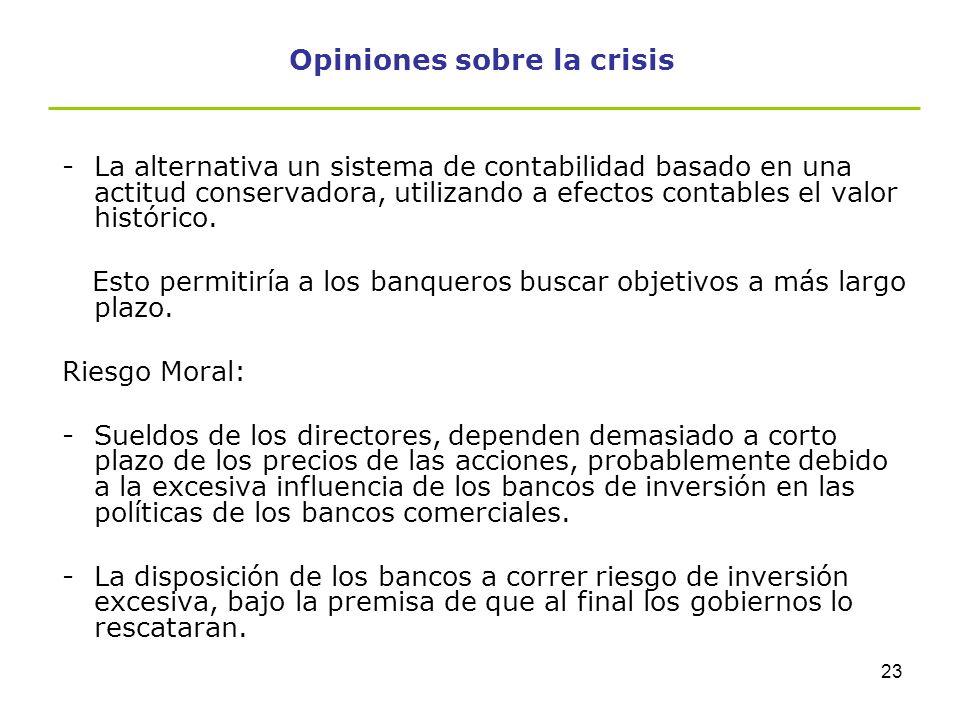 22 Opiniones sobre la crisis 1.Sistema de contabilidad -Las NIIF actualmente utilizadas por las grandes empresas, no mitigan el contagio sistemático q