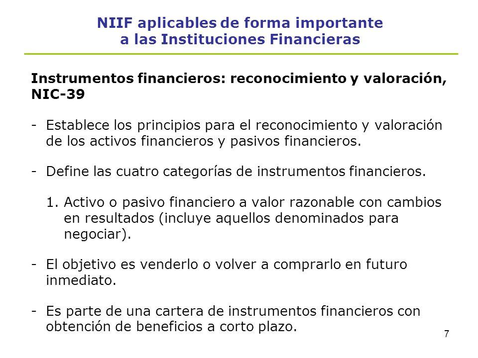 6 NIIF aplicables de forma importante a las Instituciones Financieras - Define el concepto de instrumento financiero: Cualquier contrato que de lugar,