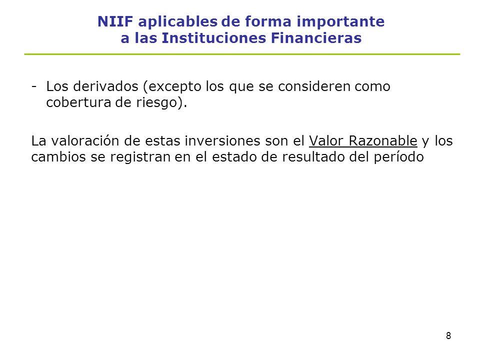 7 NIIF aplicables de forma importante a las Instituciones Financieras Instrumentos financieros: reconocimiento y valoración, NIC-39 -Establece los pri