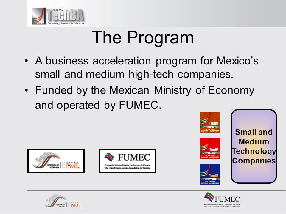 The Program A business acceleration program for Mexicos small and medium high-tech companies.