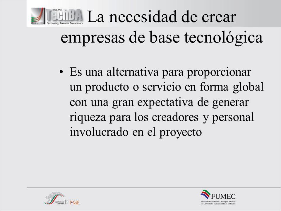 La necesidad de crear empresas de base tecnológica Es una alternativa para proporcionar un producto o servicio en forma global con una gran expectativ