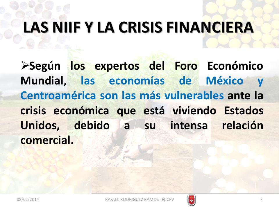 LAS NIIF Y LA CRISIS FINANCIERA Según los expertos del Foro Económico Mundial, las economías de México y Centroamérica son las más vulnerables ante la