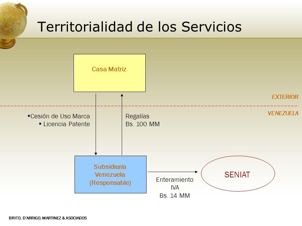 BRITO, DARRIGO, MARTINEZ & ASOCIADOS Territorialidad de los Servicios Subsidiaria Venezuela (Responsable) Subsidiaria Venezuela (Responsable) Cesión d