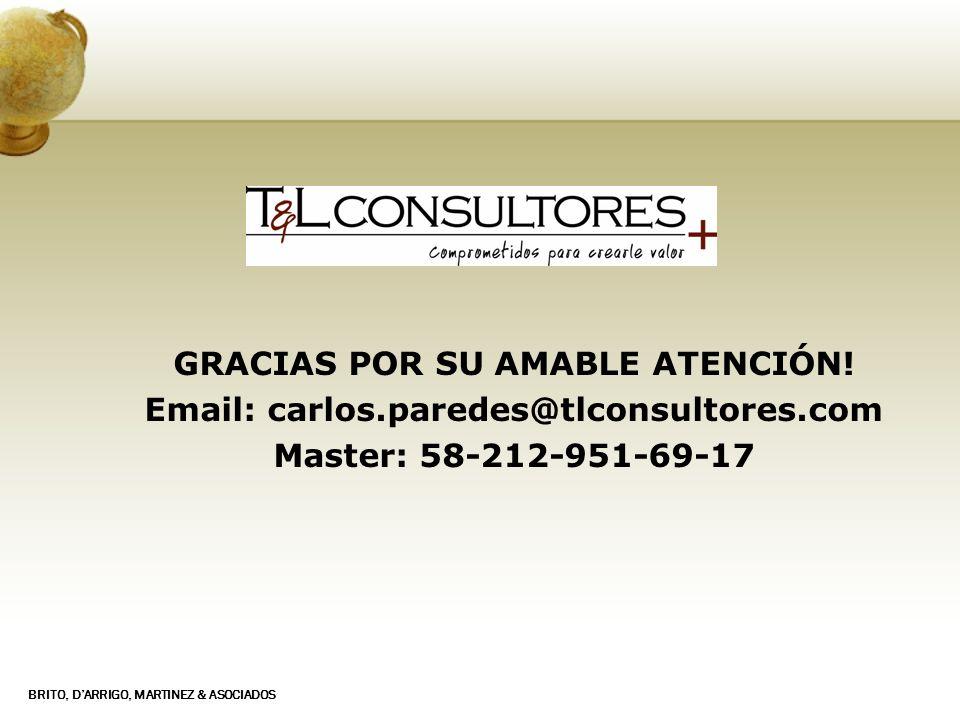 BRITO, DARRIGO, MARTINEZ & ASOCIADOS GRACIAS POR SU AMABLE ATENCIÓN! Email: carlos.paredes@tlconsultores.com Master: 58-212-951-69-17