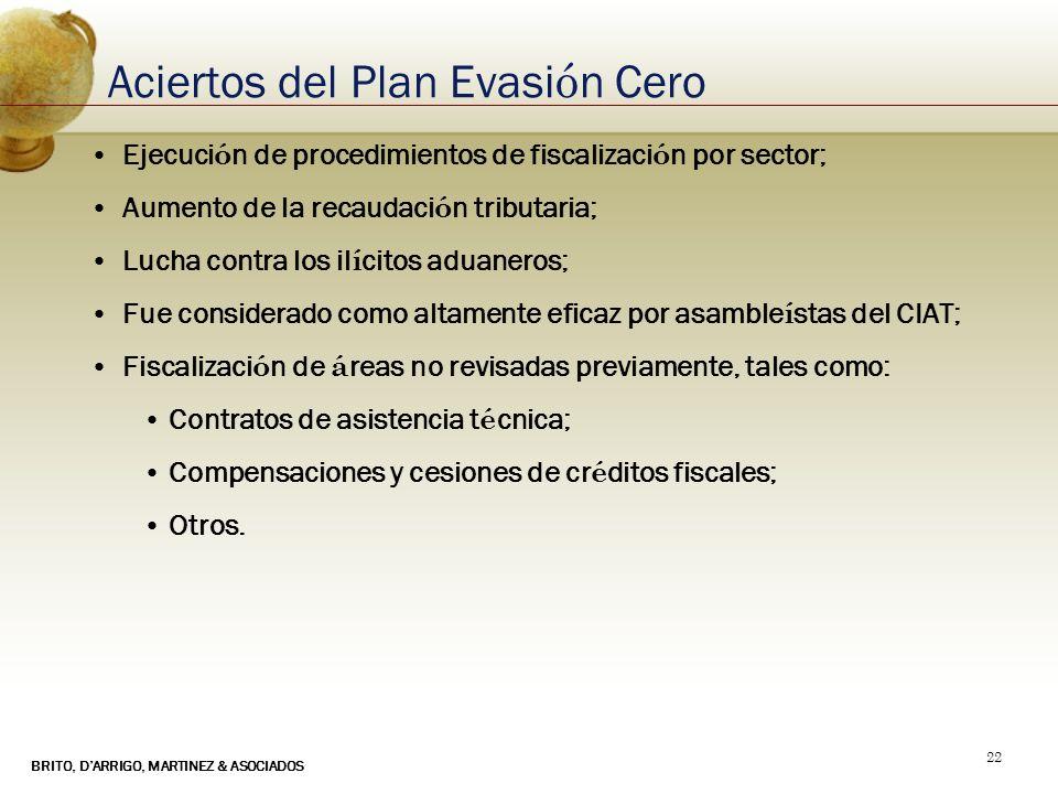 BRITO, DARRIGO, MARTINEZ & ASOCIADOS 22 Aciertos del Plan Evasi ó n Cero Ejecuci ó n de procedimientos de fiscalizaci ó n por sector; Aumento de la re