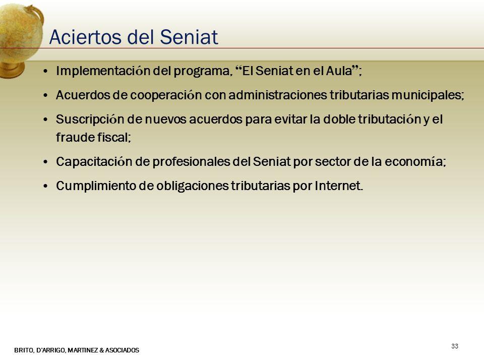 BRITO, DARRIGO, MARTINEZ & ASOCIADOS 33 Aciertos del Seniat Implementaci ó n del programa, El Seniat en el Aula ; Acuerdos de cooperaci ó n con admini