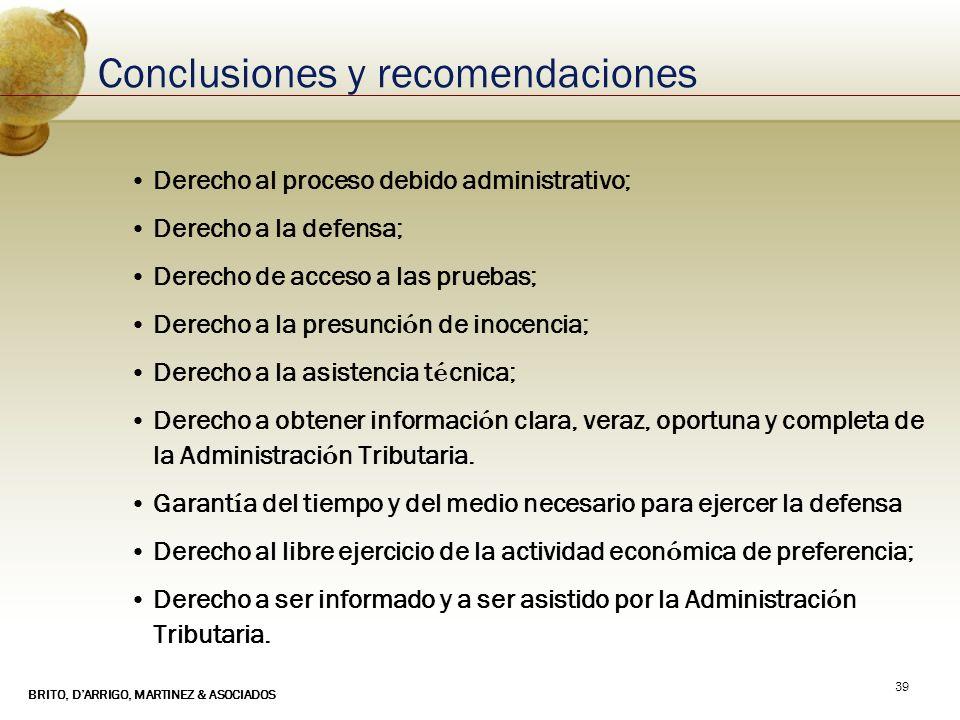 BRITO, DARRIGO, MARTINEZ & ASOCIADOS 39 Conclusiones y recomendaciones Derecho al proceso debido administrativo; Derecho a la defensa; Derecho de acce