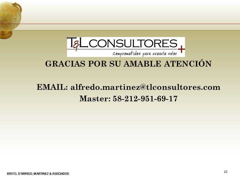 BRITO, DARRIGO, MARTINEZ & ASOCIADOS 43 GRACIAS POR SU AMABLE ATENCIÓN EMAIL: alfredo.martinez@tlconsultores.com Master: 58-212-951-69-17